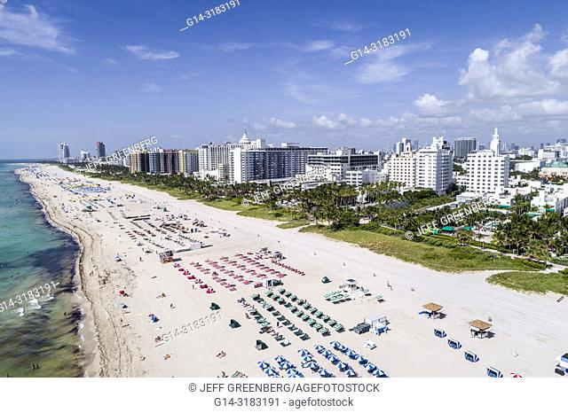 Florida, Miami Beach, aerial overhead bird's eye view above, hotel hotels, Atlantic Ocean public beach, Nautilus South Beach SIXTY Hotel