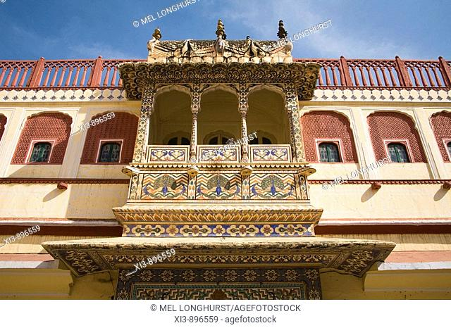 Balcony decorated with peacock paintings, Pritam Niwas Chowk, City Palace, Jaipur, Rajasthan, India