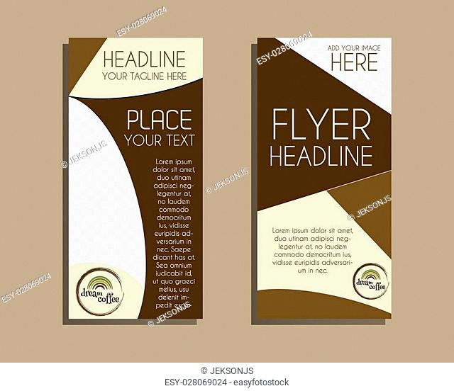 Coffee Brochure Flyer design Layout template. Triangle abstract style. Dream coffee design. Isolated on brown background. Vector illustration
