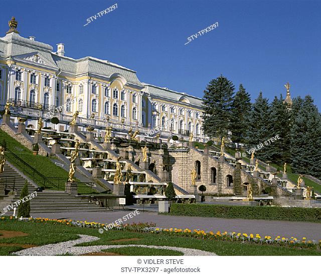 Grand cascade, Great palace, Holiday, Landmark, Palace, Peterhof, Petersburg, Petrodvorets, Russia, Tourism, Travel, Vacation