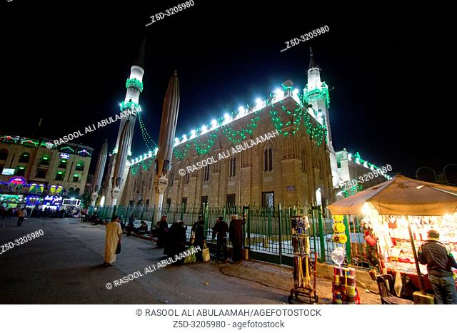 Cairo, Egypt – November 5, 2018: photo for The Shrine of Imam Hussein in Khan el-Khalili in Cairo city capital of Egypt. and shows two minaret and huge building
