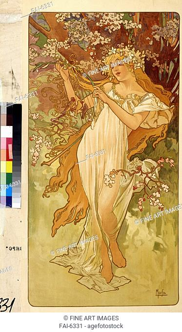 Spring (From the Series Les Saisons). Mucha, Alfons Marie (1860-1939). Colour lithograph. Art Nouveau. 1896. State A. Pushkin Museum of Fine Arts, Moscow