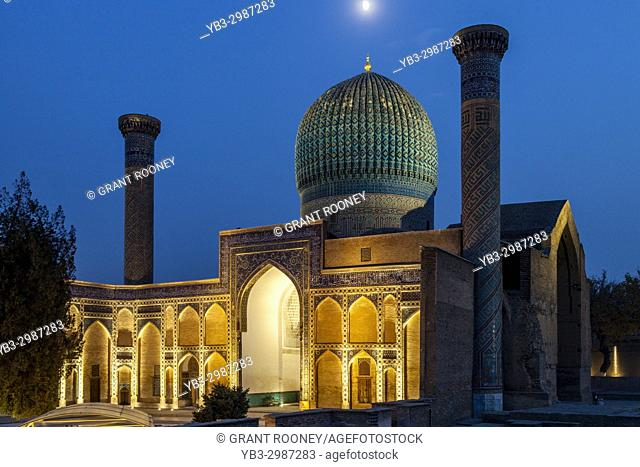 The Amir Temur Mausoleum At Night, Samarkand, Uzbekistan
