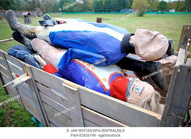 Cardboard soldiers in a wagon on the day before the historic reenacting of the Battle of the Nations in a field in Markkleeberg, Germany, 17October 2014