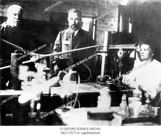 Pierre and Marie Curie, French scientists, at work in the laboratory. Polish-born Marie Curie (1867-1934) and her husband Pierre (1859-1906) continued the work...