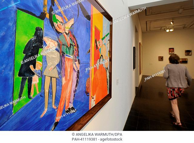A jounalist visits the exhibition 'R. B. Kitaj. Die Retrospektive' at the Kunsthalle in Hamburg, Germany, 18 July 2013. The first big retrospective about the...