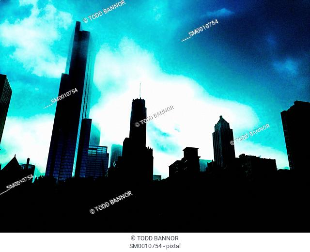 Dramatic image of downtown Chicago skyline