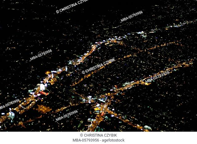 Areal Views, Flight over Los Angeles at night with a view on Sunset Boulevard and Hollywood Boulevard