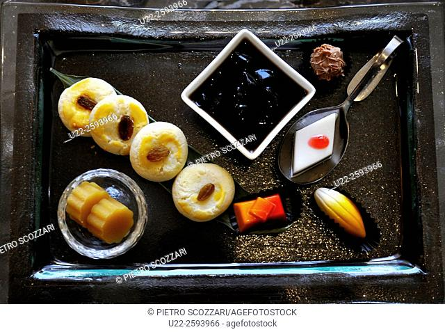 Asia, China, Beijing, sweets, welcome set at Fairmont Beijing Hotel...