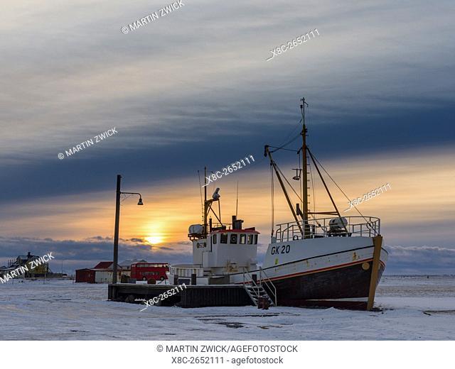 Cape Gardskagi with lighthouse, local museum and museum ship during winter sunrise on the Reykjanes peninsula. europe, northern europe, iceland, January