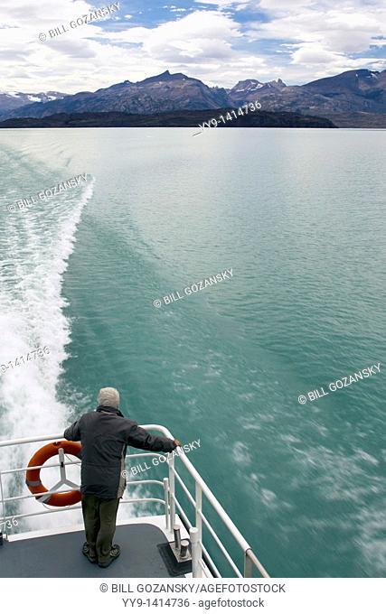 Person looking of ship in Los Glaciares National Park - Santa Cruz Province, Argentina