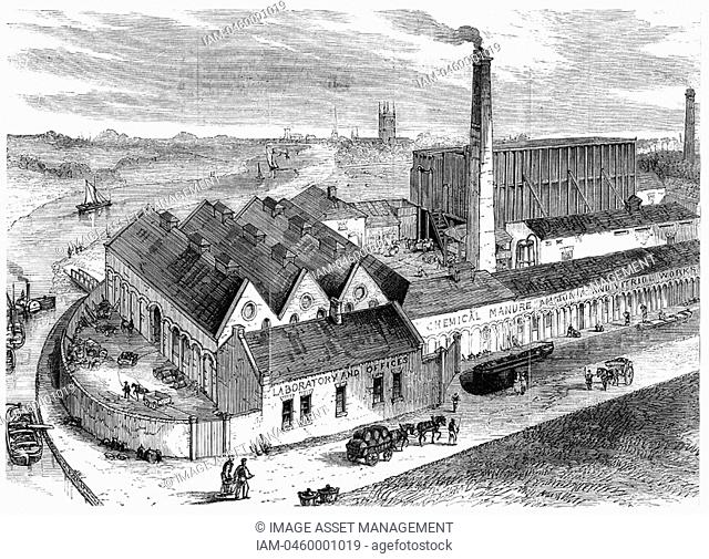 Webb's chemical factory, Diglis, Worcestershire, 1869  The tall building to right behind chimney contains Gay-Lussac's lead chambers for the production of...