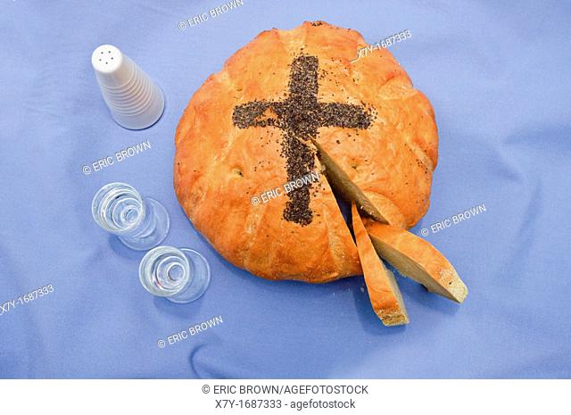 A traditional loaf of bread, salt and vodka called The Bread and Salt Blessing, at a Polish wedding