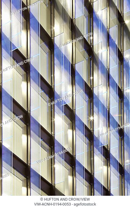 Detail of glass facade with illuminated glass fins. Moorgate Exchange, London, United Kingdom. Architect: HKR Architects, 2015