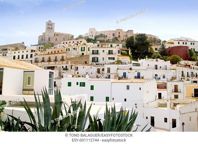 Ibiza white balearic island village dalt vila downtown architecture
