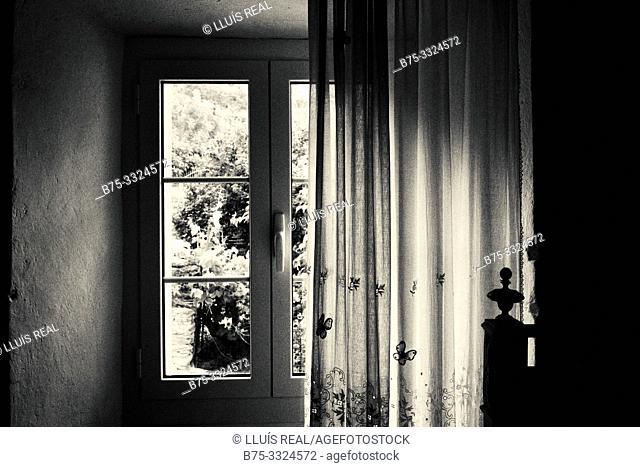 Interior with window in a village house.Santo- Pietro-de Tenda, Corsica, France, Europe