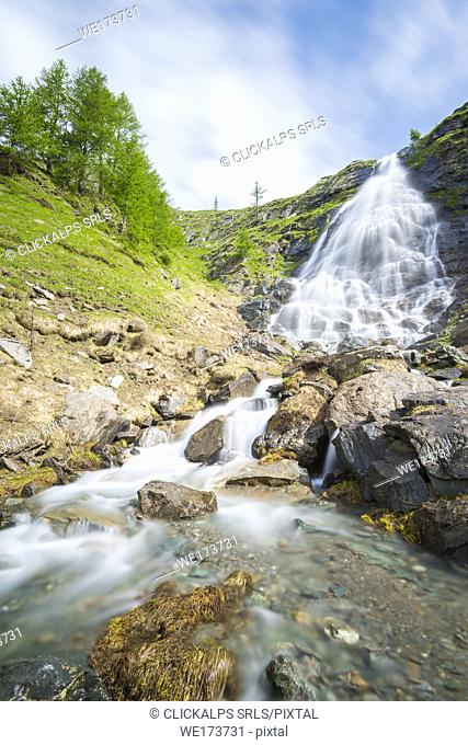 The waterfall of San Besso, Campiglia valley, Valle Soana, Gran Paradiso National Park, Piedmont, Province of Turin, Italian alps, Italy