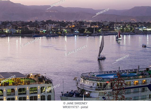 View of the Nile River, Luxor, Egypt, North Africa, Africa