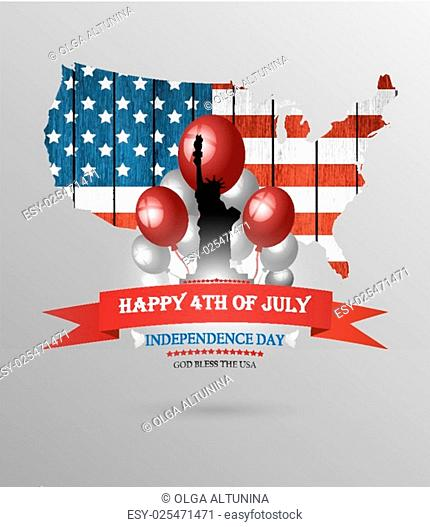 Happy Fourth Of July Background With Balls Statue Of Liberty And Title Inscription
