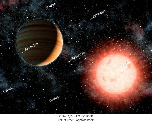 This artist's concept shows the smallest star known to host a planet  The planet, called VB 10b, was discovered using astrometry