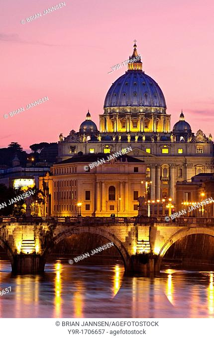River Tiber, Ponte Sant Angelo and St  Peter's Basilica at dusk, Rome Lazio Italy