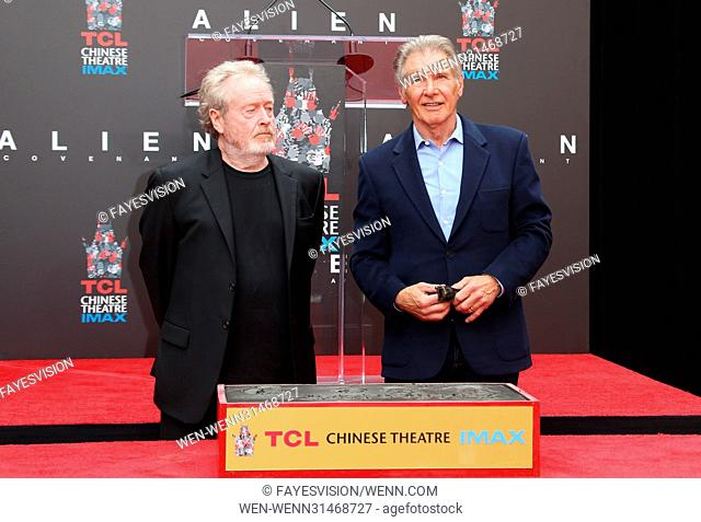 Sir Ridley Scott Hand and Footprint Ceremony Featuring: Sir Ridley Scott, Harrison Ford Where: Hollywood, California, United States When: 18 May 2017 Credit:...
