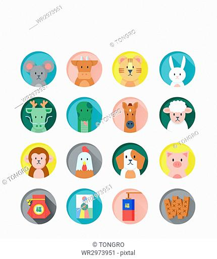 Set of various icons related to new year