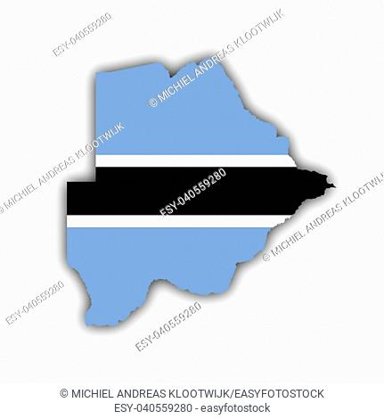 Country shape outlined and filled with the flag of Botswana, isolated on white