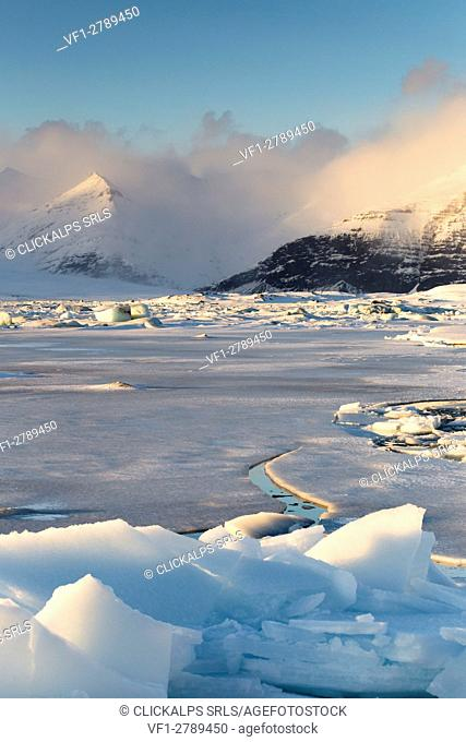View of the Jokulsarlon Glacier Lagoon,southern Iceland,Europe