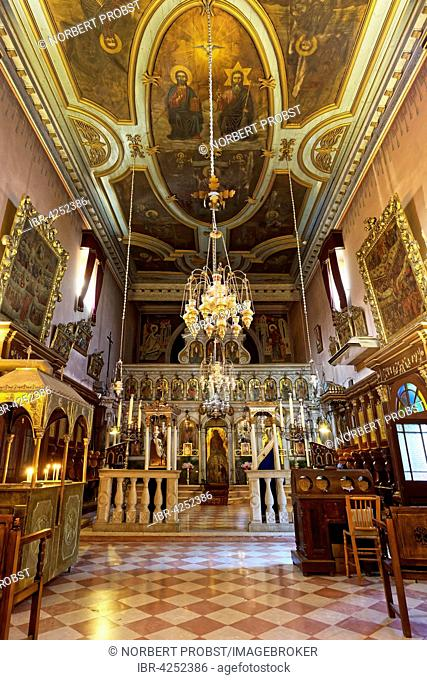 Interior of the Greek Orthodox monastery Church, monastery of Panagia Theotokos tis Paleokastritsas or Panagia Theotokos, Paleokastritsa, Corfu, Ionian Islands
