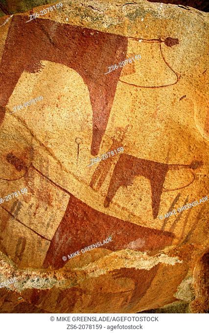Neolithic cave paintings, Laas Geel, Naasa Hablood Hills, Somaliland, Somalia