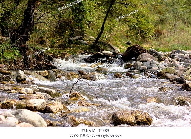 river in the mountain with rock
