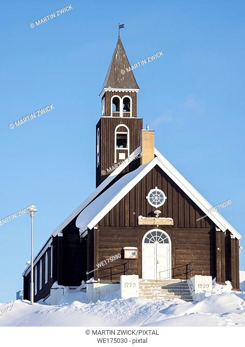 The Zion s Church. Town Ilulissat at the shore of Disko Bay in West Greenland, center for tourism, administration and economy