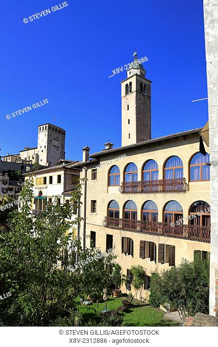 Asolo Castle and Cathedral Bell Tower Italy Veneto