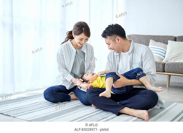 Japanese family in the living room