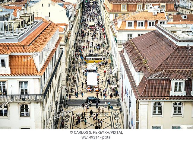 Aerial view of Rua Augusta in the downtown of Lisbon Portugal