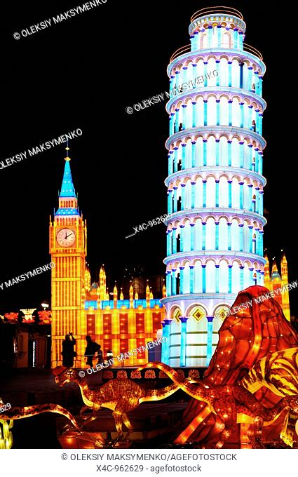 Chinese Lantern Festival in Toronto  Pisa tower and House of Parliament in London symbols of Italy and England  Colorful magnificent illumination glowing at...