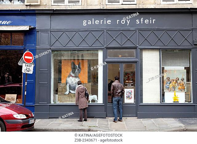 Roy Sfeir Gallery on the Rue de Seine, a famous street full of art galleries, 6th arrondissement, Paris, France, Europe