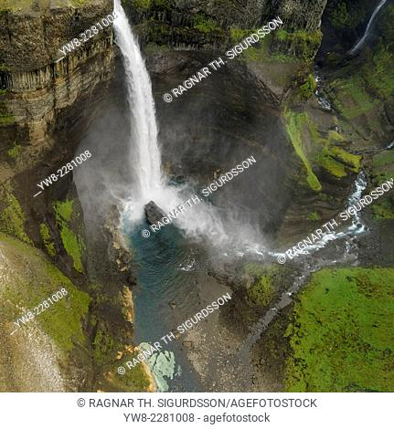 Haifoss Waterfalls, Thjorsardalur valley, Iceland. Haifoss is near the volcano Hekla and is the second hightest waterfall in Iceland