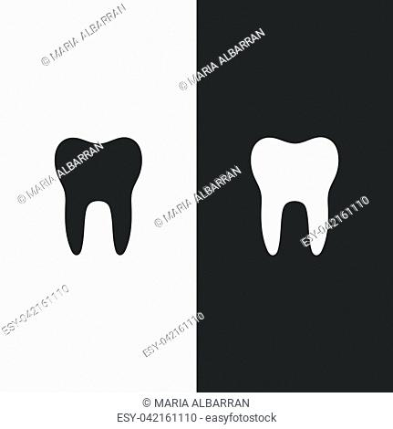 Tooth flat icon on a black and white background. Vector illustration