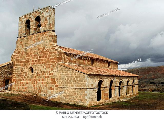 Romanesque church of Santa María in Tiermes archaelogical site, Soria province, Spain