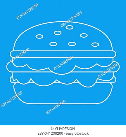 Burger icon blue outline style isolated illustration. Thin line sign