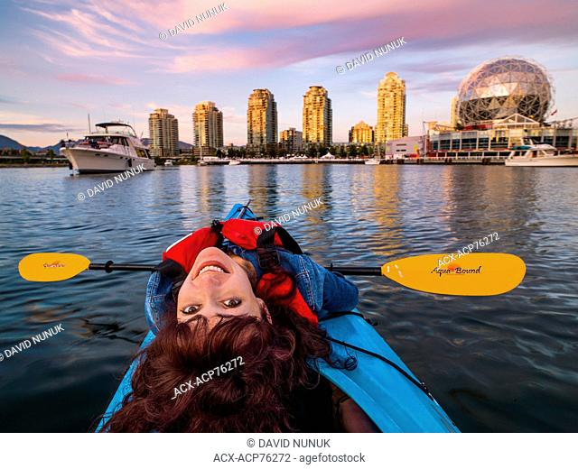 Kayaking. false creek, Vancouver, British Columbia, Canada