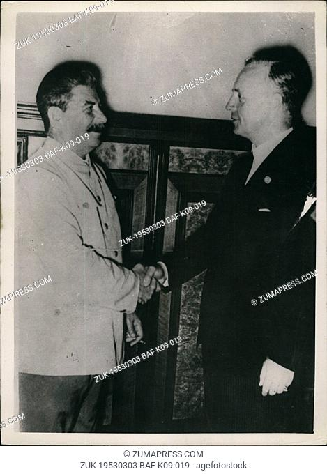 Mar. 03, 1953 - Marshal Stalin shakes hands with Ribbentrop. Photo shows Historic photograph taken during a meeting of Marshall Stalin and Herr Ribbentrop