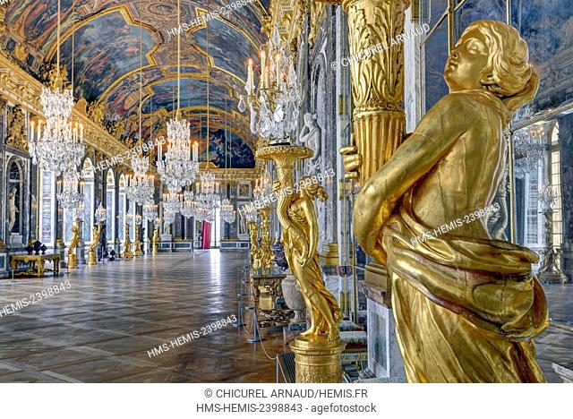 France, Yvelines, palace of Versailles listed as World Heritage by UNESCO, the hall of Mirrors
