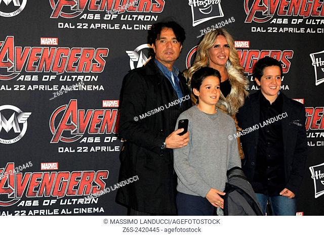 tiziana rocca, giulio base, actress, director, celebrities, 2015, rome, italy, event, red carpet, avengers, age of ultron