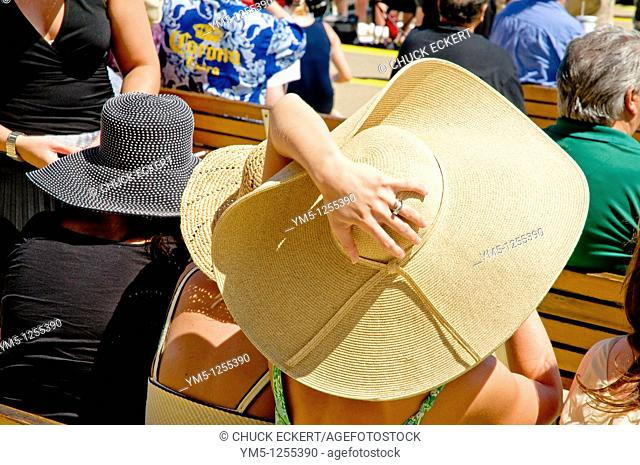 Female Horse racing fans wearing 'Derby' style hats at track