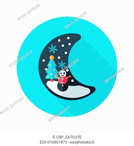 xmas moon flat icon with long shado