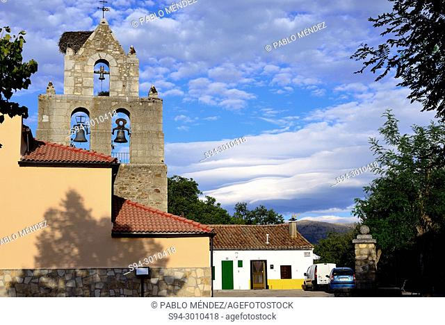 Bell gable of the church of Our Lady of la Paz, Oteruelo del Valle, Madrid, Spain