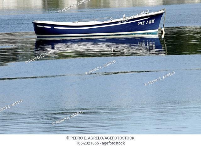 A boat in the Ria of Vivero in Lugo
